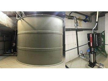 Установка резервуара запаса воды объемом 15 м куб. и повышающего насоса Grundfos. Бизнес-центр «Dominant Plaza». г. Львов