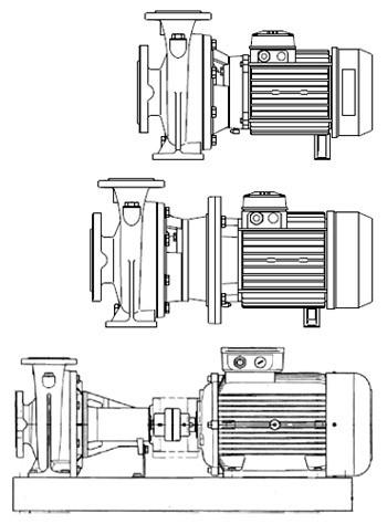 Горизонтальні відцентрові  насоси Lowara серії e-NSC в моноблочному і консольному виконанні
