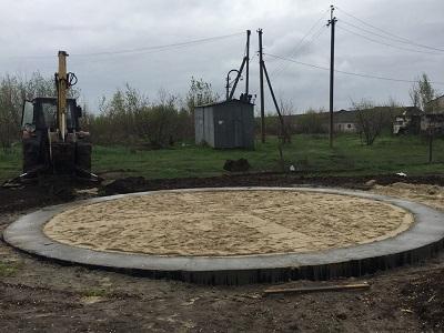 Concrete base of modular capacity