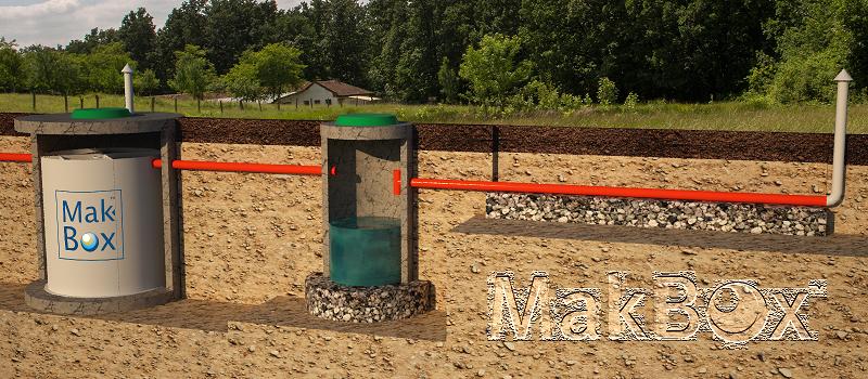 Stacja MakBoxBio w pierścieniach żelbetowych i system odwadniający
